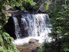 The first of 2 waterfalls at Lake Irwin, near Crested Butte